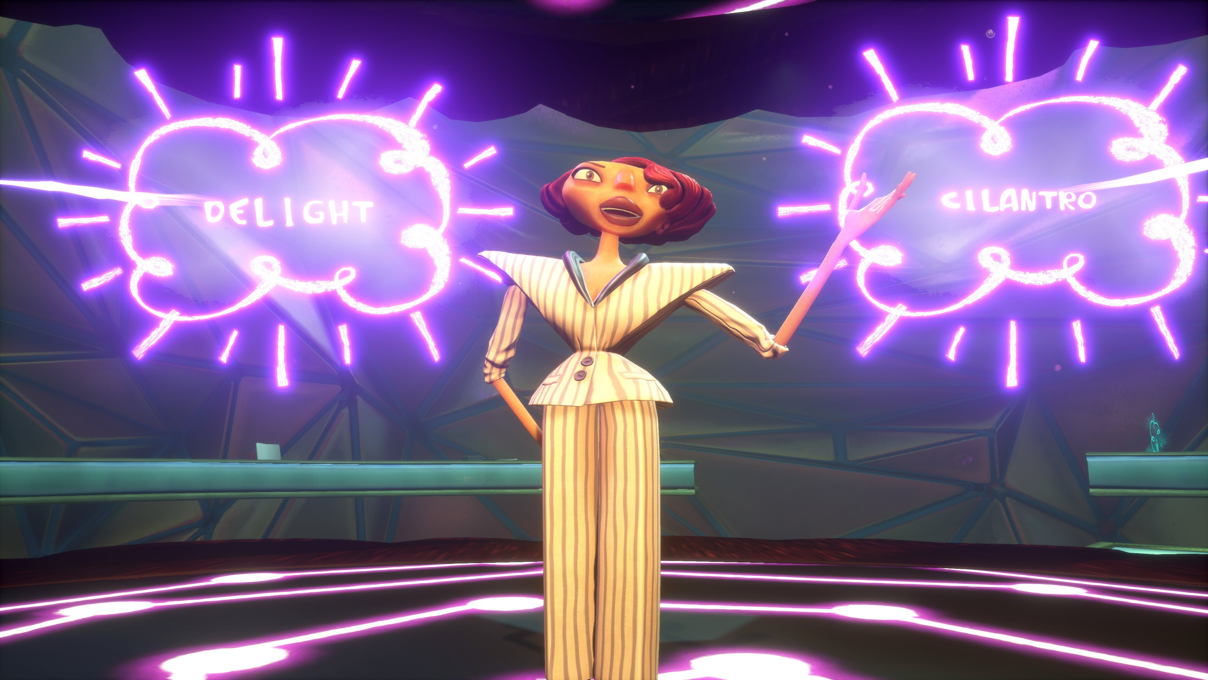Psychonauts 2 Screenshot - Hollis Forsythe demonstrates Mental Connection, associating Delight with Cilantro